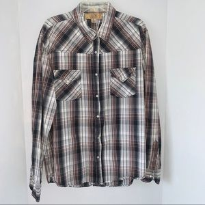 BKE XL Flannel brown and cream Button Down Shirt